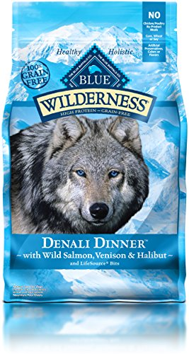 BLUE Wilderness Grain Free Denali Dinner with Wild Salmon, Venison & Halibut Dry Dog Food 4-lb