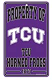 WinCraft NCAA Texas Christian University TCU Horned Frogs Champ/Prop of Sign, 7.25 x 12