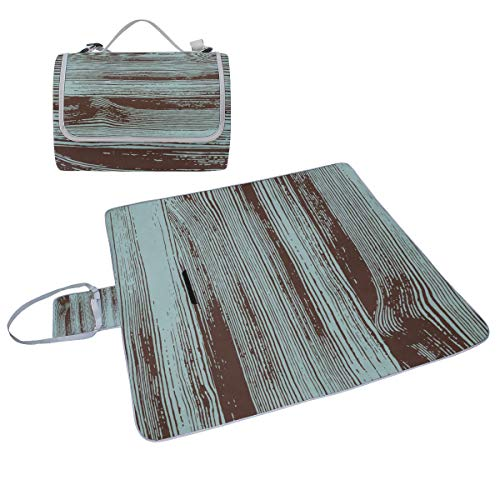 (Family Picnic Blanket Handy Tote Woodgrain Vintage Design Style Style Garden Cowhide Art Single Side Printing Foldable Sandproof Waterproof Camping Mat For Outdoor Beach Hiking Grass Travel)