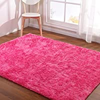 Hoomy Modern Hot Pink Rug for Girls Room Shaggy Bedroom Area Rugs Soft Foam Floor Mats for Kids Play Solid Floor Rug 3X6.5