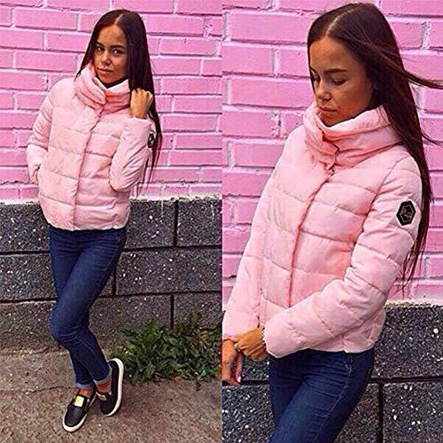Libero Pink Stlie Cappotto Dolce Lunga Colore Piumino Autunno Alto Grazioso Eleganti Donna Manica Collo Puro Outerwear Moda Imbottitura Invernali Tempo Giacca Calda A Con Cerniera Stile Accogliente OqYq4FSw