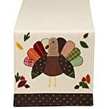 "DII 14x64"" Polyester Table Runner, Embroidered Turkey - Perfect for Fall, Thanksgiving or Catering Events"