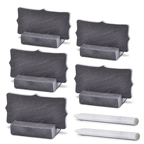 """Slate Lace - Mini Chalkboard Stand 5-Pack – Erase Chalkboard Markers! - Reusable & Windproof Slate Blackboard Signs - 3.5"""" x 1.75"""" with Lace Edges (with 2 Pieces Chalk)"""