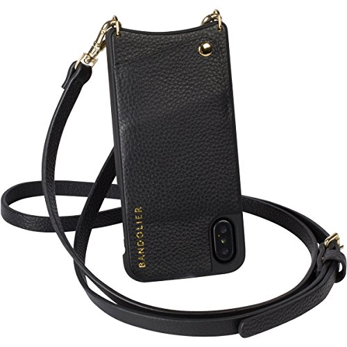 iPhone X (iPhone 10) Cell Phone Case - Black Genuine Leather Wallet & GOLD Hardware Cross-body Adjustable Strap. Wallet for Credit Cards. Detachable Strap to Carry Hands-free. Emma Case by Bandolier. by Bandolier
