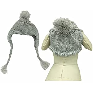 Classic Warm Pet Dog Winter Knitted Hat Costume for Large Dogs, Grey Medium / Large
