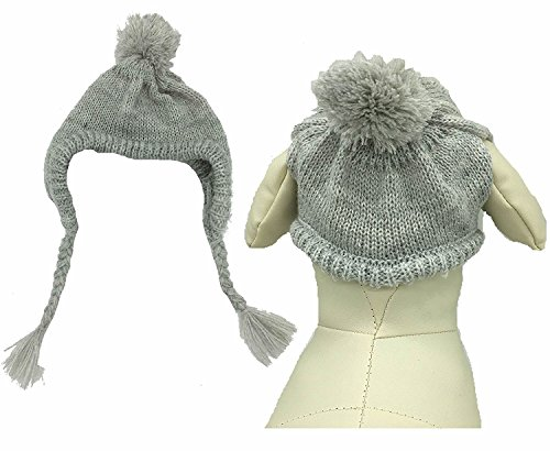 Lanyar Classic Warm Pet Dog Winter Knitted Hat for Medium Dogs, Grey Medium