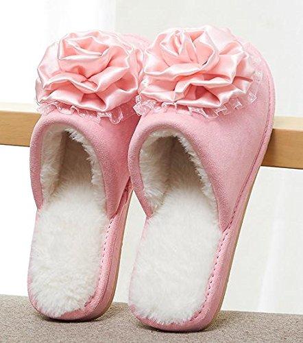Zapatillas de algodón de moda inicio a interior anti - skid zapatillas otoño encantadora y zapatos calientes de invierno Pink