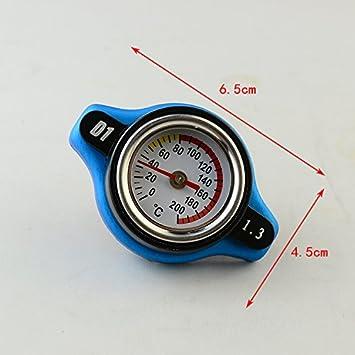 Tapa Cubierta de Radiador Coche Presión de Agua Indicador Temperatura 1.3Bar Aluminio