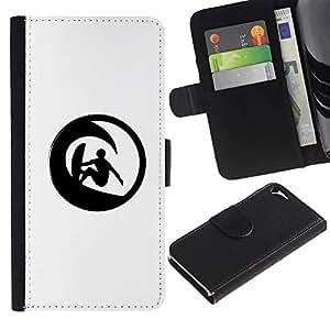Protector de cuero de la PU de la cubierta del estilo de la carpeta del tirón BY RAYDREAMMM - Apple Iphone 5 / 5S - Minimalista Wave Surfer