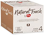 Natural Touch by Huggies, Pañal Desechable para bebé, Unisex, Etapa 4, Caja con 100 piezas, Ideal para Bebés d