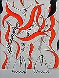 ORIGINAL Drawing / PAINTING - Black & Red Waterproof Ink - DRAWING on Heavy STRATHMORE Paper