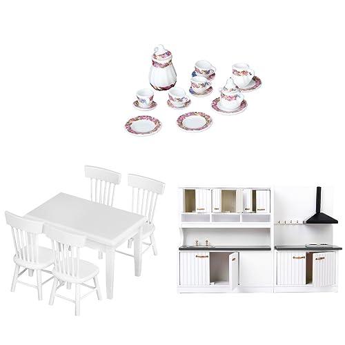 MonkeyJack Vintage Miniature 3 Sets Furniture Kitchen/Dining/Living Rooms  Items For 1/