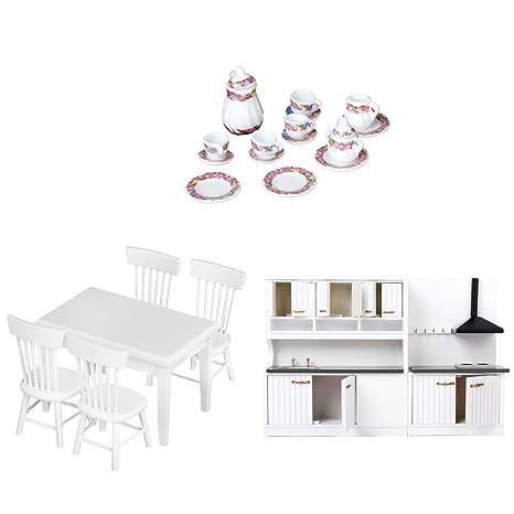 Gazechimp 3 Sistemas de 1/12 Gabinete Mueble de Cocina Silla Mesa Juego de Té