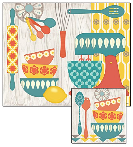CounterArt Retro Kitchen Glass Cutting Board and Trivet Set