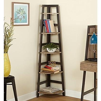 Simple Living Rustic Lana Corner Shelf Natural Reclaimed Wood Black Finish