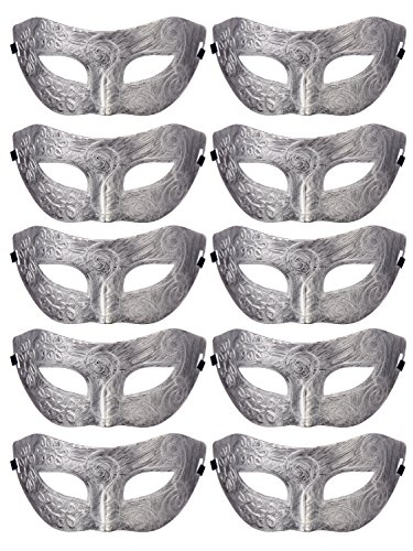 Retro Masquerade Mask Mardi Gras Costume Party Supply(Pack of 10) Silver -
