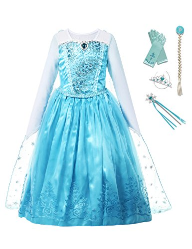 aibeiboutique Girls Princess Costume Ice Snow Queen Sequin Cosplay Dress up(4-5 (Ice Age Halloween Special)