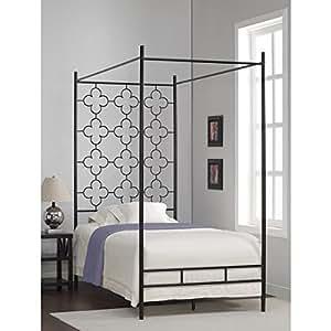 metal canopy bed frame twin sized adult kids princess bedroom furniture black. Black Bedroom Furniture Sets. Home Design Ideas