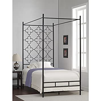 metal canopy bed frame twin sized adult kids princess bedroom furniture black wrought iron style - Iron Canopy Bed Frame