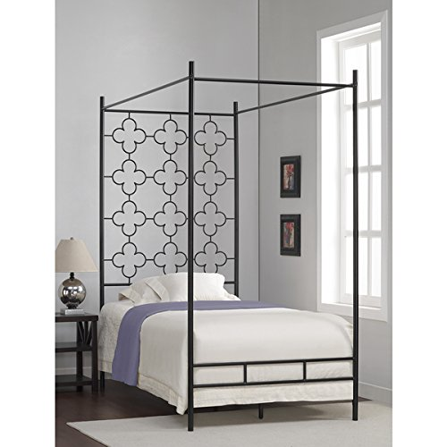 (Metal Canopy Bed Frame Twin Sized Adult Kids Princess Bedroom Furniture * Black Wrought Iron Style Vintage Antique Look * Hang Shear Curtains or Mosquito Nets * Bedding Pillow Not Included (Twin))