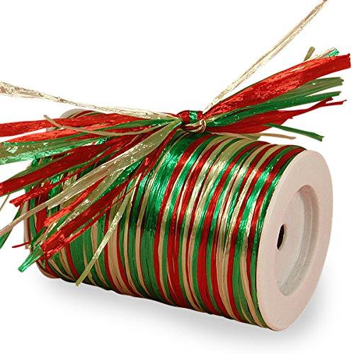 Red, Green & Celadon Metallic Raffia, 3/8 X 100 Yards 3/8 X 100 Yards Paper Mart