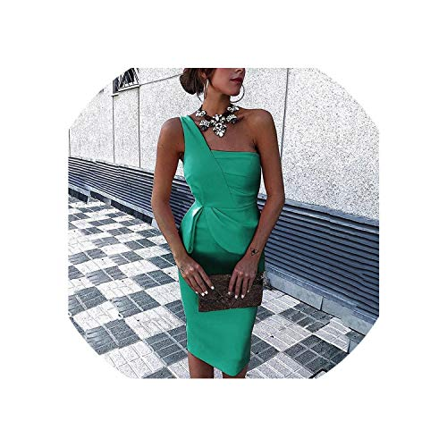 (Women Red Party Dress Summer One Shoulder Bodycon Sexy Dress Slim Ladies Plus Size Tunic Midi Dresses 3XL,Green,XL)
