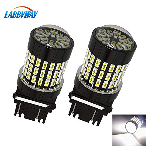 LABBYWAY 2 Pcs Super Bright 900 Lumens 3014 78-EX Chipsets 3157 3156 3056 3057LED Used For Used For Back Up Reverse Lights,Brake Lights,Tail Lights etc,Xenon White