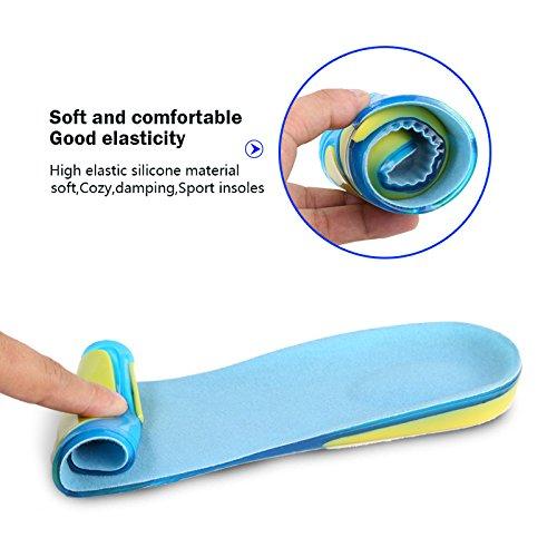 Silicona Elástica Anti-deslizante Absorción de Choque Plantillas con Terciopelo en Superficie, Protección y Comodidad a Tus Pies Todos el Día S(23,5cm) L (31cm)