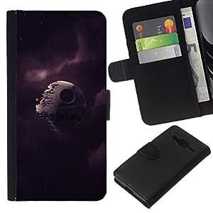 KLONGSHOP // Tirón de la caja Cartera de cuero con ranuras para tarjetas - Broken Estrella de la Muerte - Samsung Galaxy Core Prime //
