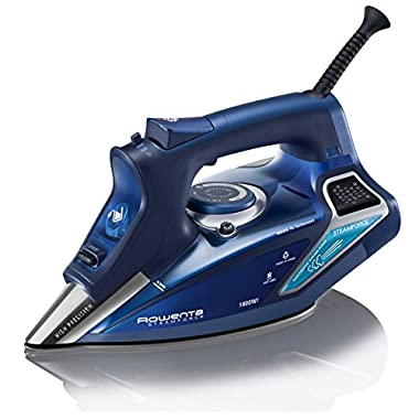Rowenta DW9280 Steam Force 1800-Watt Professional Digital LED Display Iron with Stainless Steel Soleplate, 400-Hole, Blue