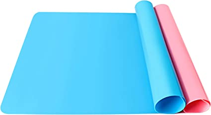 Dreecy 2 Pack Extra Large Silicone Mats for Crafts 20x 16 Thicken Silicone Sheet for Resin Jewelry Casting Craft Green Pink Nonstick Waterproof Heat-Resistant Multipurpose Mat