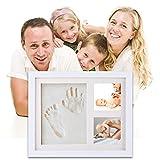 HOBFU Baby Footprint kit Baby Handprint Photo Frame | Keepsake for Newborns Baby | Best Baby Shower Gifts | Mold-free Nontoxic Clay | Hand & Footprint Makers Keepsake Frames