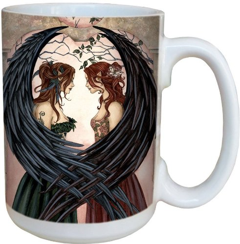 Sisters Fairy Coffee Mug, Large 15-Ounce Ceramic Cup, Full-Size Handle - Fairies Theme, Gift for Fantasy Lovers - Tree-Free Greetings -