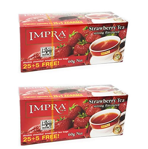 Ceylon Teas Strawberry Tea - Impra Pure Ceylon Tea Strawberry Strong Flavored, 30 Teabags (Pack of 2)