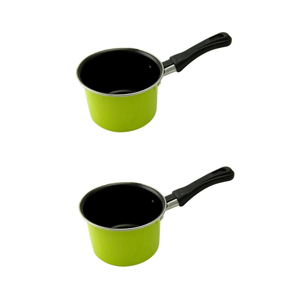 Homyl 2pcs Kitchen Cookware Mini Milk Saucepan Boiling Pan Butter Warmer Pot Green