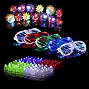 50 LED Party Favors Pack - 32 LED Finger Light Up Toys 13 LED Jelly Finger Rings and 5 LED Glasses for New Years Eve in Assorted Glow in the Dark Colors