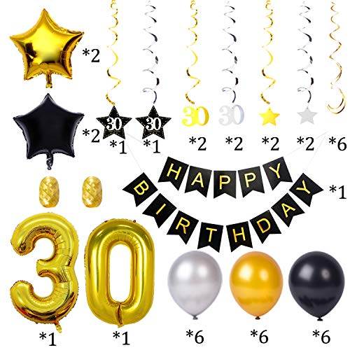 30th Birthday Decorations Kit 75 Pieces