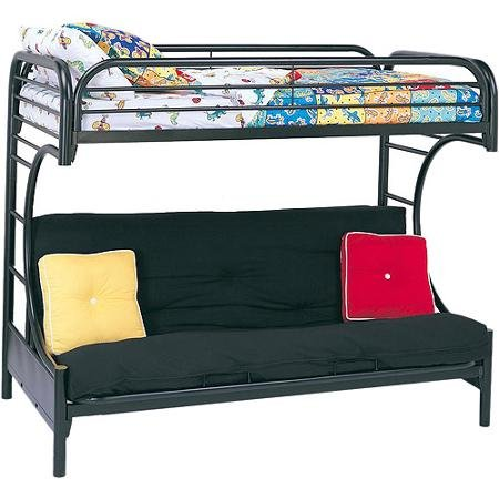 ACME Furniture 02091W-BK Eclipse Twin over Full/Futon Bunkbed, Black, Twin Top Bunk over Full/Futon Bottom Bunk