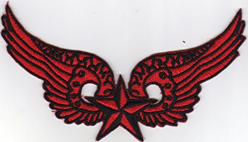 Iron on Patch Embroidered Patches Application Red Wings with Nautic Star MC Biker Sailing ()