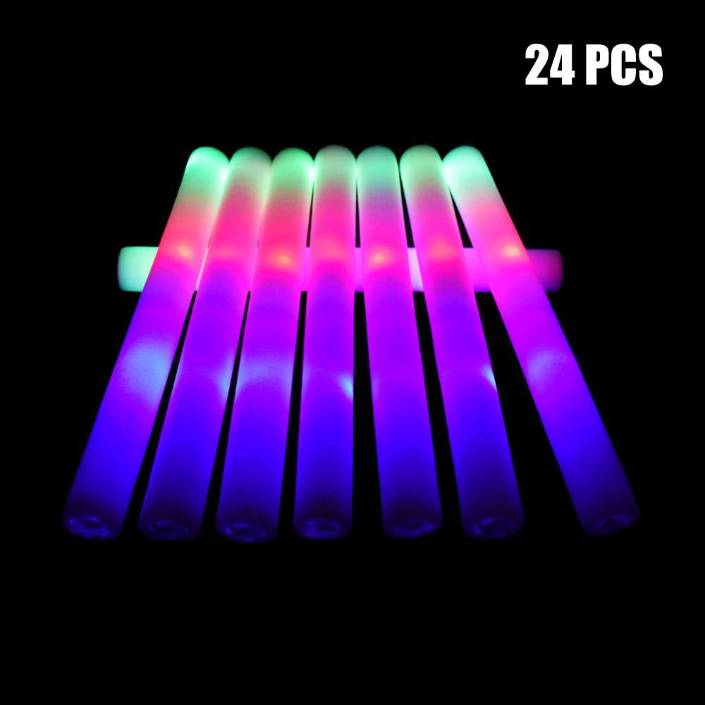 Taotuo 24pcs Foam Sticks, 3 Mode Flashing Colorful Foam Glow Sticks for Wedding, Birthday, Festivals, Halloween