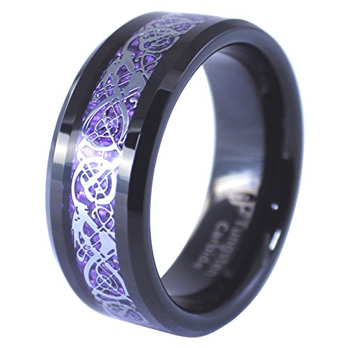 Black Tungsten Silver Tone Viking Dragon Celtic Knot Ring Purple Carbon Fiber Wedding Band Size 7