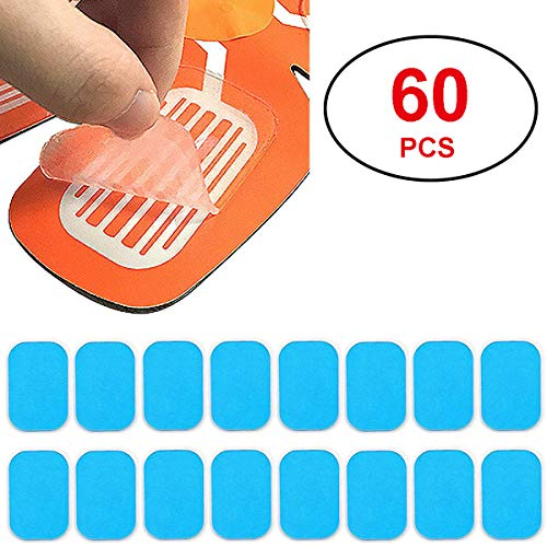 Coomatec 60 PCS EMS Abs Replacement Pads, Abs Trainer Replacement Gel Sheet Abdominal Toning Belt Muscle Toner Ab Trainer Accessories Gel Sheets for Gel Pad