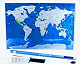 Gorgeous Scratch Off Travel World Map Made With Durable Plastic Your Memories Will Be preserved Forever! Includes Scratch Pen, 60 Activity Stickers And A Pouch For Your Accessories! Great Gift Idea!