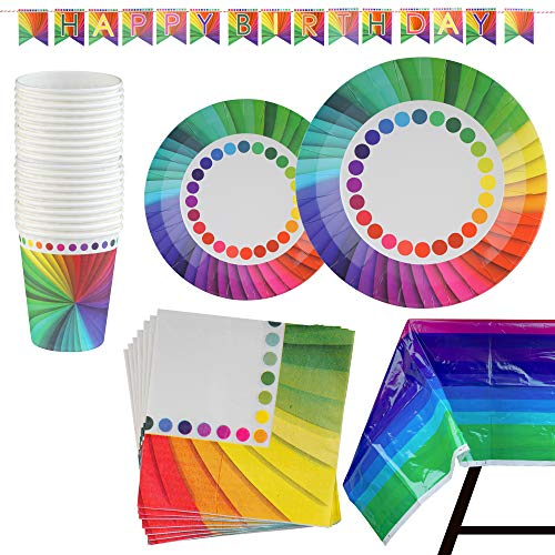 82 Piece Rainbow Party Set Including Banner, Plates, Cups, Napkins and Tablecloth, Serves 20 by Scale Rank