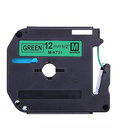 1 Paquete de 12 mm Negro sobre Verde MK731 Cinta de Cassette ...