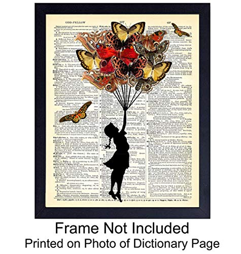 - Upcycled Dictionary Wall Art Print - 8x10 Vintage Unframed Photo - Perfect Easy Gift and Great For Home Decor - Butterfly Bouquet