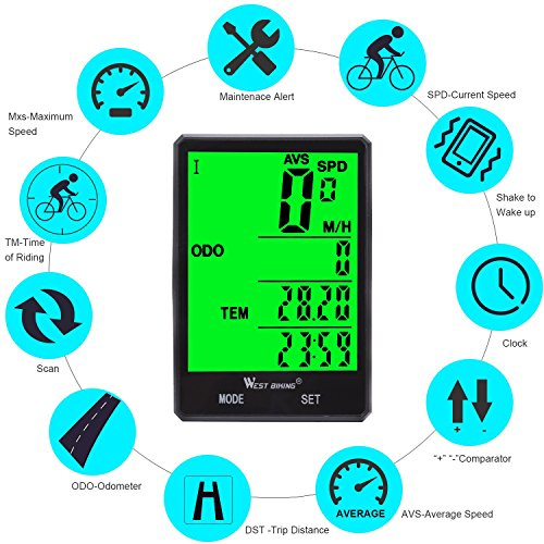 Wireless Bicycle Speedometer Waterproof Cycling Computer with LCD Green Backlight, Cycle Bike Odometer 15 Functions Speed compare record AVS SPD ODO MXS TM COLOCK etc, Bike Accessories for Riders by WESTGIRL (Image #3)
