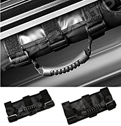 Razer Auto 87-16 Jeep Wrangler JK TJ YJ CJ Rubicon Black Extreme Ultimate Unlimited Roll Bar Side Grab Handle - Pair