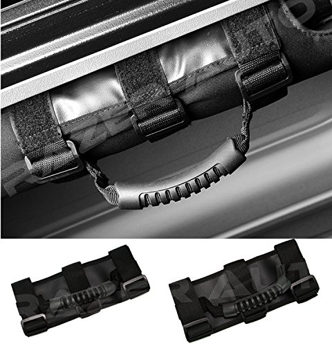 2003 Jeep Wrangler Rubicon (Razer Auto Black Extreme Ultimate Unlimited Roll Bar Side Grab Handle - Pair for 87-16 Jeep Wrangler JK TJ YJ CJ Rubicon)