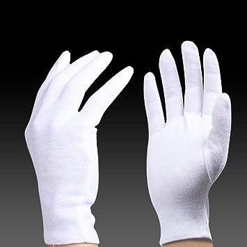GBSTA Guantes De Boda Guantes de protección Guantes de algodón Blanco Seguro Laboral Fina Tela de algodón Ceremonial Trabajo de recepción de la Industria del Desfile del Conductor de Cuentas, Guante: Amazon.es: